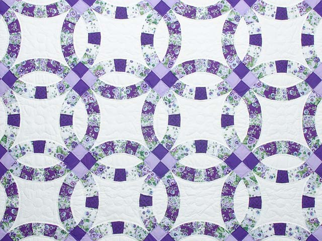 lavender and green double wedding ring quilt photo 3 - Double Wedding Ring Quilt Pattern