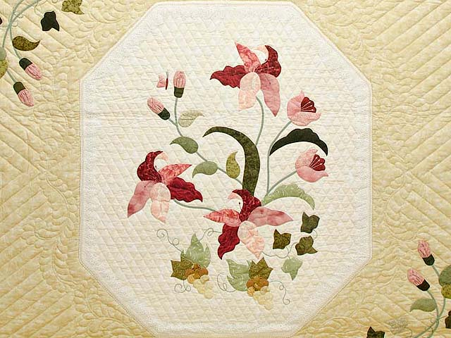 King Pink Rose and Golden Tan Petal Showcase Quilt Photo 3