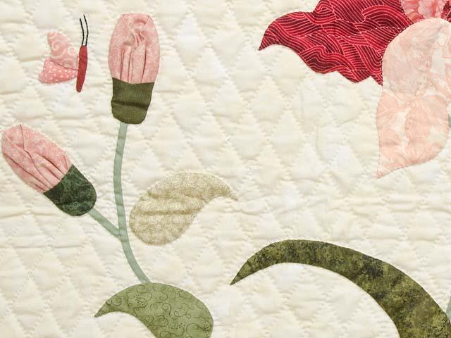 King Pink Rose and Golden Tan Petal Showcase Quilt Photo 6