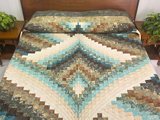 Teal Tan and Brown Lightning Strikes Bargello Quilt Photo 1