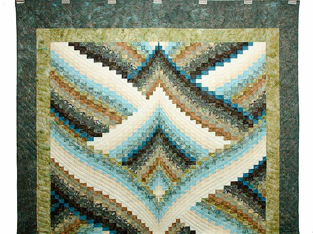 Teal Tan and Brown Lightning Strikes Bargello Quilt Photo 2