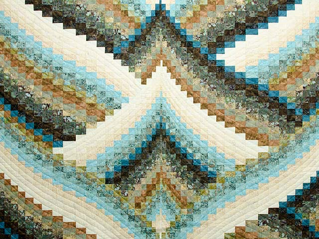 Teal Tan and Brown Lightning Strikes Bargello Quilt Photo 3