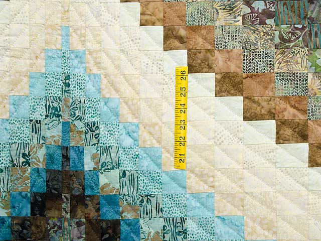 Teal Tan and Brown Lightning Strikes Bargello Quilt Photo 4