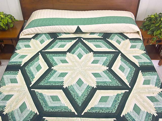 Sea Foam Teal Diamond Star Log Cabin Quilt Photo 1