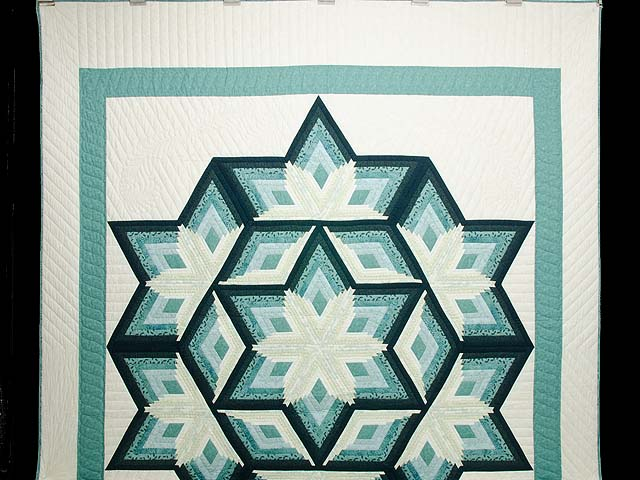 Sea Foam Teal Diamond Star Log Cabin Quilt Photo 2