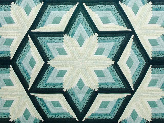 Sea Foam Teal Diamond Star Log Cabin Quilt Photo 3