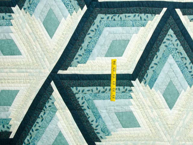 Sea Foam Teal Diamond Star Log Cabin Quilt Photo 4