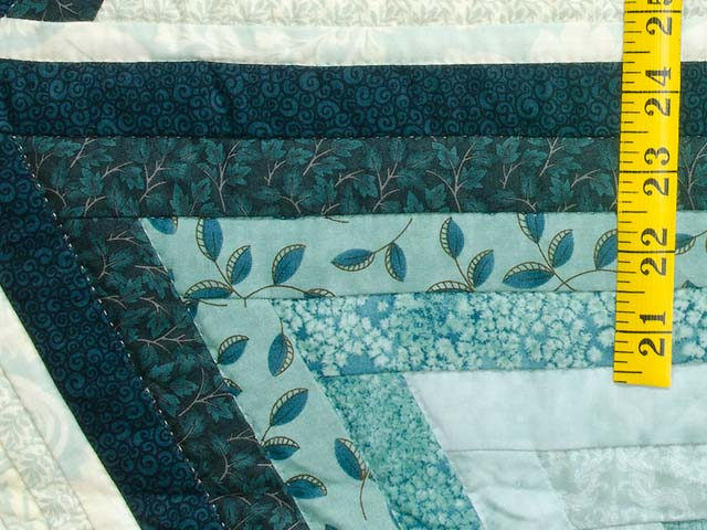 Sea Foam Teal Diamond Star Log Cabin Quilt Photo 5
