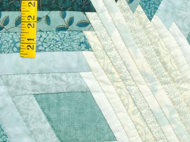 Sea Foam Teal Diamond Star Log Cabin Quilt Photo 6