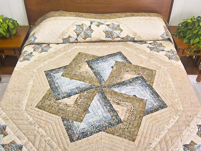 Hand Painted Pastel Blue and Brown Star Spin Quilt Photo 1