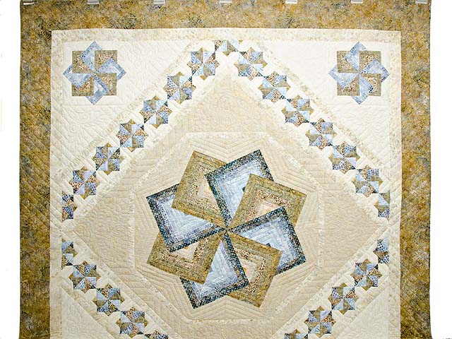 Hand Painted Pastel Blue and Brown Star Spin Quilt Photo 2