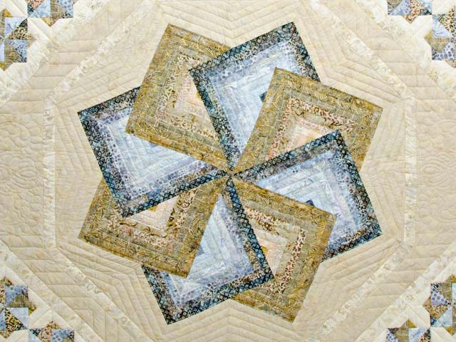 Hand Painted Pastel Blue and Brown Star Spin Quilt Photo 3