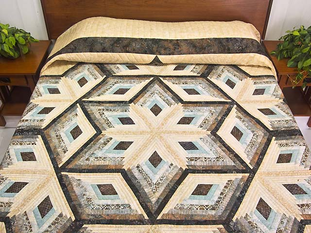 Pastel Blue Brown and Tan Diamond Star Log Cabin Quilt Photo 1