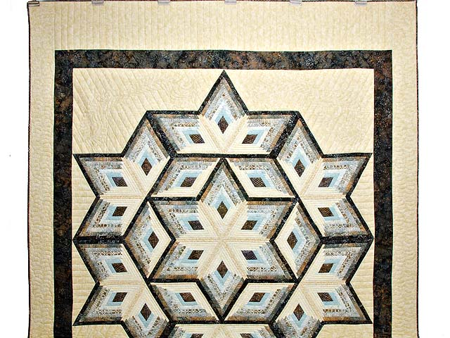 Pastel Blue Brown and Tan Diamond Star Log Cabin Quilt Photo 2