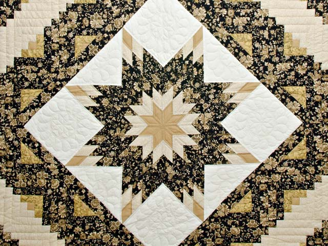 Golden Tan and Black Lone Star Log Cabin Quilt Photo 3