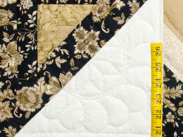 Golden Tan and Black Lone Star Log Cabin Quilt Photo 5