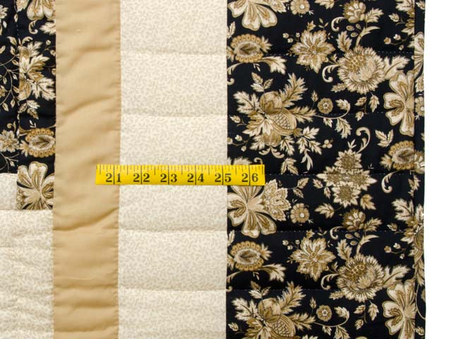 Golden Tan and Black Lone Star Log Cabin Quilt Photo 6