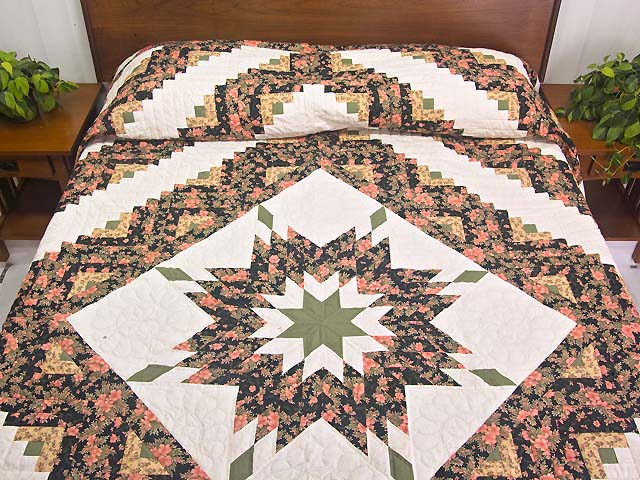 Rose Black Moss and Golden Tan Lone Star Log Cabin Quilt Photo 1