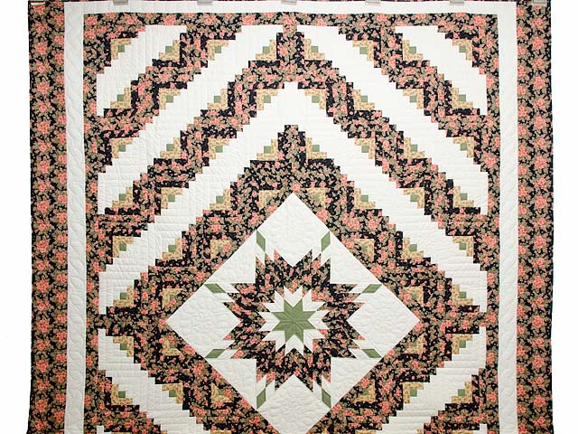 Rose Black Moss and Golden Tan Lone Star Log Cabin Quilt Photo 2