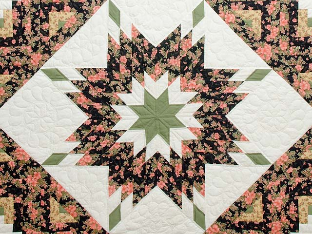 Rose Black Moss and Golden Tan Lone Star Log Cabin Quilt Photo 3