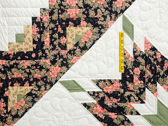 Rose Black Moss and Golden Tan Lone Star Log Cabin Quilt Photo 4