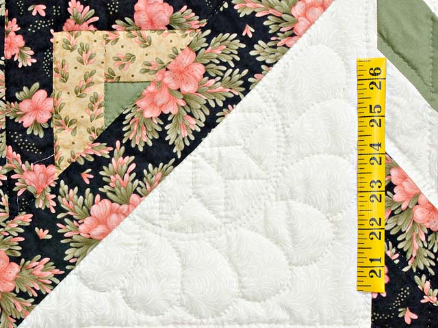 Rose Black Moss and Golden Tan Lone Star Log Cabin Quilt Photo 5