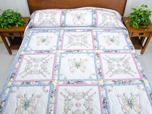 Pastel Blue and Lavender Embroidered Butterfly Quilt Photo 1