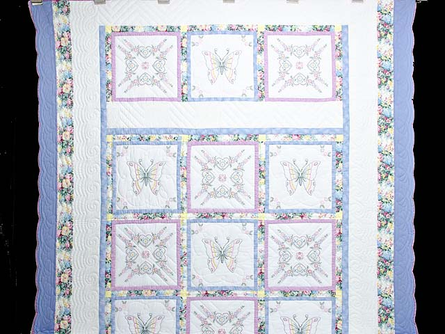 Pastel Blue and Lavender Embroidered Butterfly Quilt Photo 2