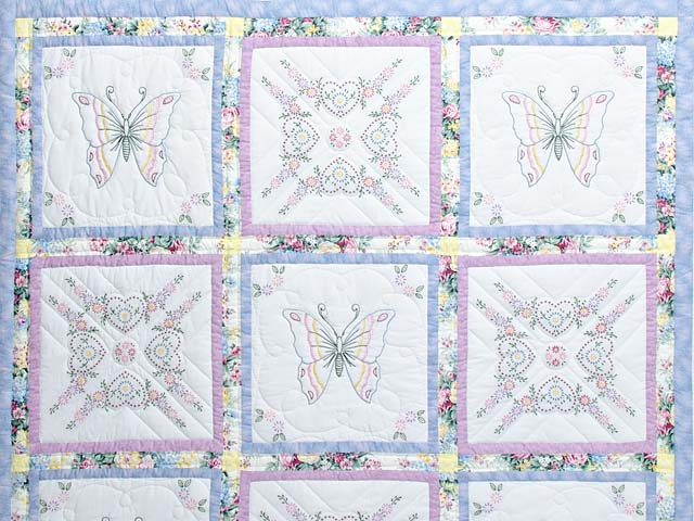 Pastel Blue and Lavender Embroidered Butterfly Quilt Photo 3