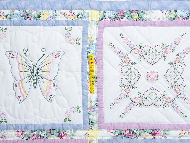 Pastel Blue and Lavender Embroidered Butterfly Quilt Photo 4
