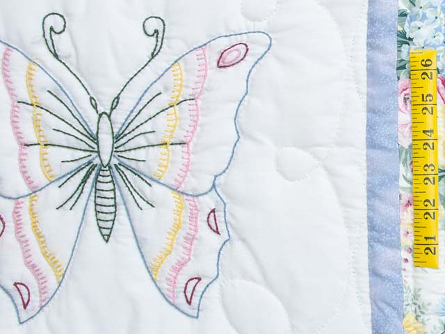 Pastel Blue and Lavender Embroidered Butterfly Quilt Photo 5