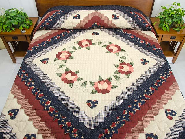 King Navy Burgundy and Tan Hearts All Around Quilt Photo 1
