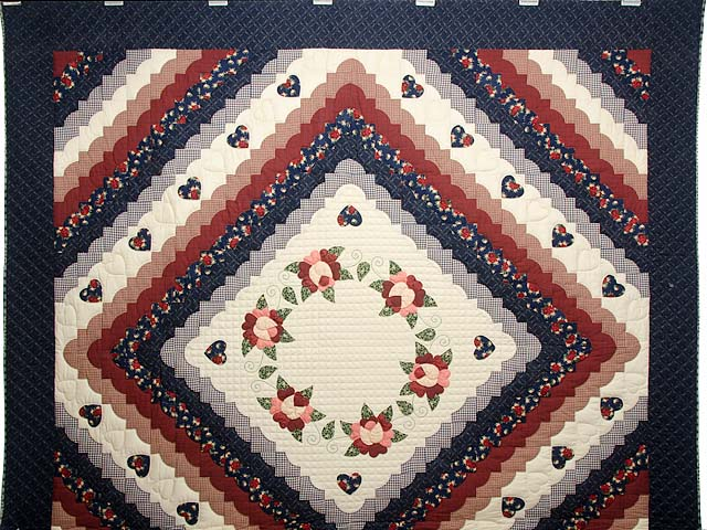 King Navy Burgundy and Tan Hearts All Around Quilt Photo 2
