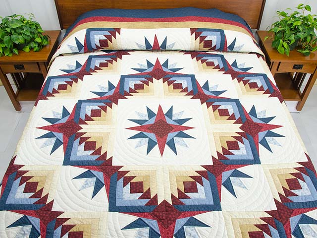 Navy Burgundy and Gold Compass Star Quilt Photo 1