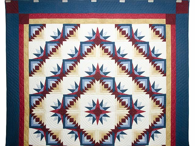 Navy Burgundy and Gold Compass Star Quilt Photo 2