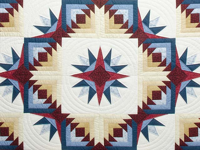 Navy Burgundy and Gold Compass Star Quilt Photo 3