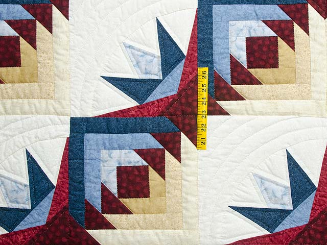 Navy Burgundy and Gold Compass Star Quilt Photo 4