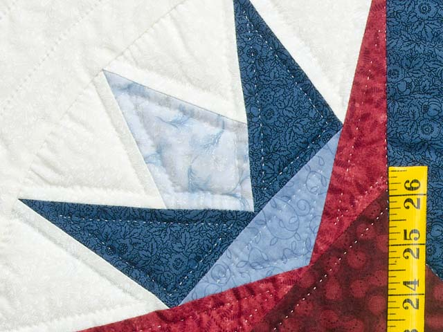 Navy Burgundy and Gold Compass Star Quilt Photo 5
