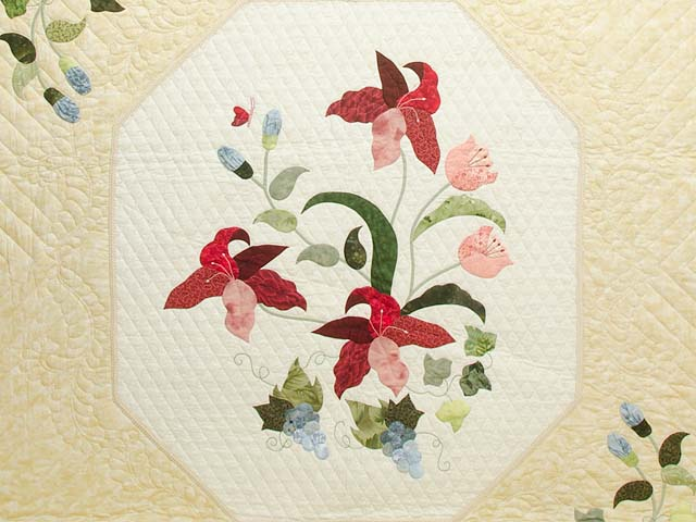 Coral Blue and Tan Petal Showcase Quilt Photo 3