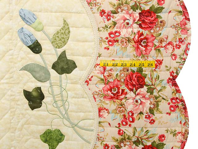 Coral Blue and Tan Petal Showcase Quilt Photo 7