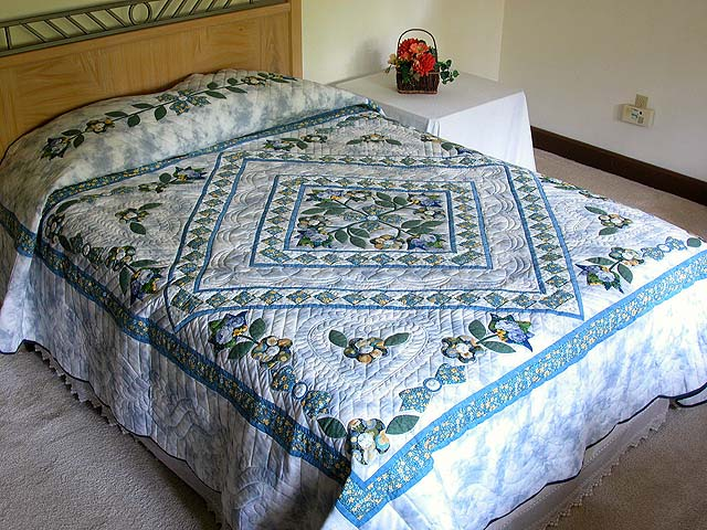 Blue Spring Flowers in Commons Quilt Photo 1