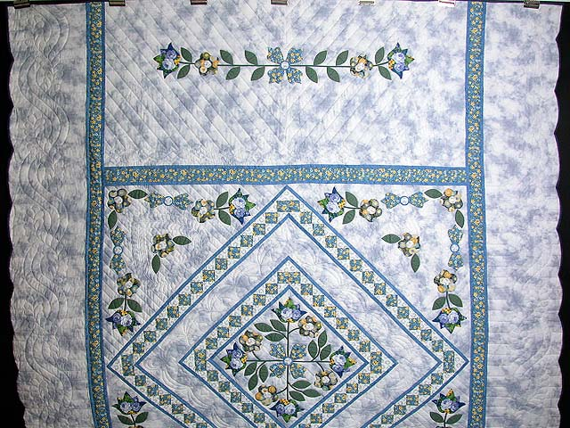 Blue Spring Flowers in Commons Quilt Photo 2