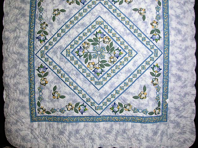 Blue Spring Flowers in Commons Quilt Photo 3