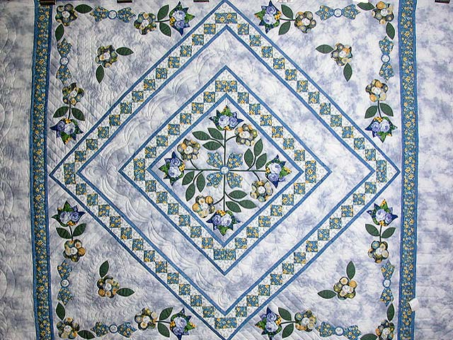 Blue Spring Flowers in Commons Quilt Photo 4