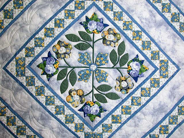 Blue Spring Flowers in Commons Quilt Photo 5
