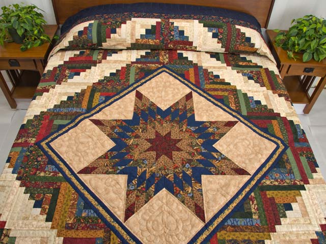 King Gold Navy Green and Burgundy Lone Star Log Cabin Quilt Photo 1