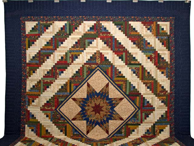 King Gold Navy Green and Burgundy Lone Star Log Cabin Quilt Photo 2