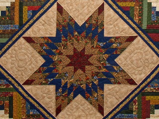 King Gold Navy Green and Burgundy Lone Star Log Cabin Quilt Photo 3