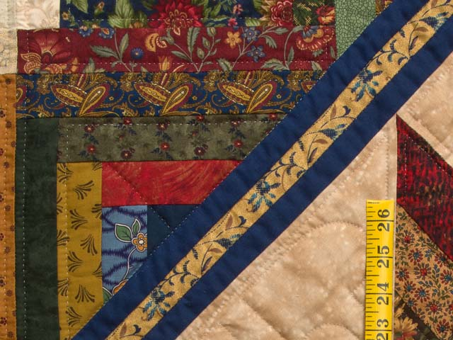 King Gold Navy Green and Burgundy Lone Star Log Cabin Quilt Photo 5