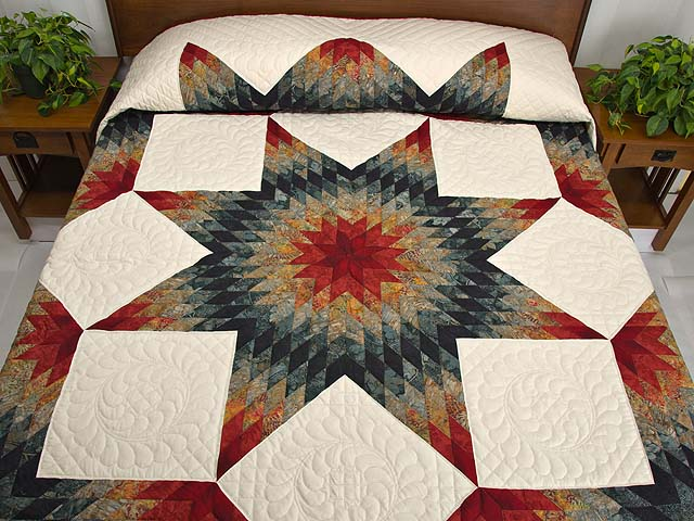 King Brick Red and Steel Blue Broken Star Quilt Photo 1